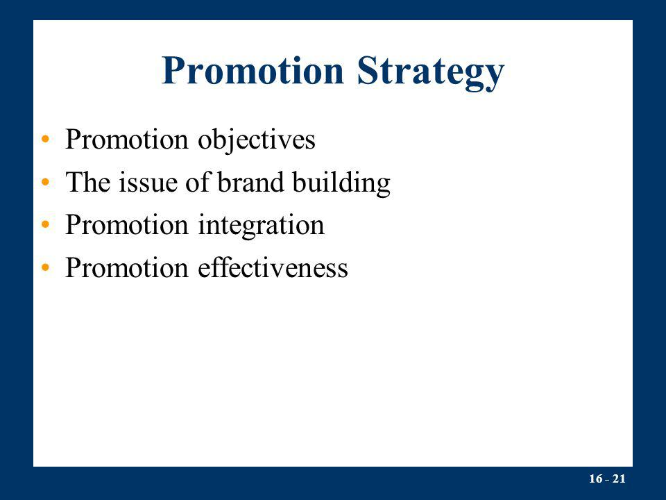 Promotion Strategy Promotion objectives The issue of brand building