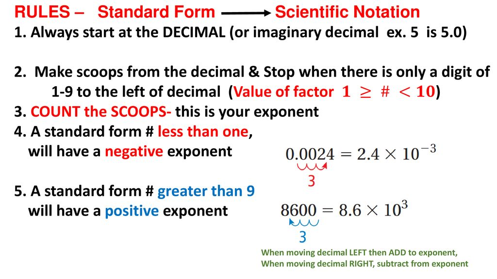 standard form notation  6.6 Standard form to Scientific Notation - ppt download