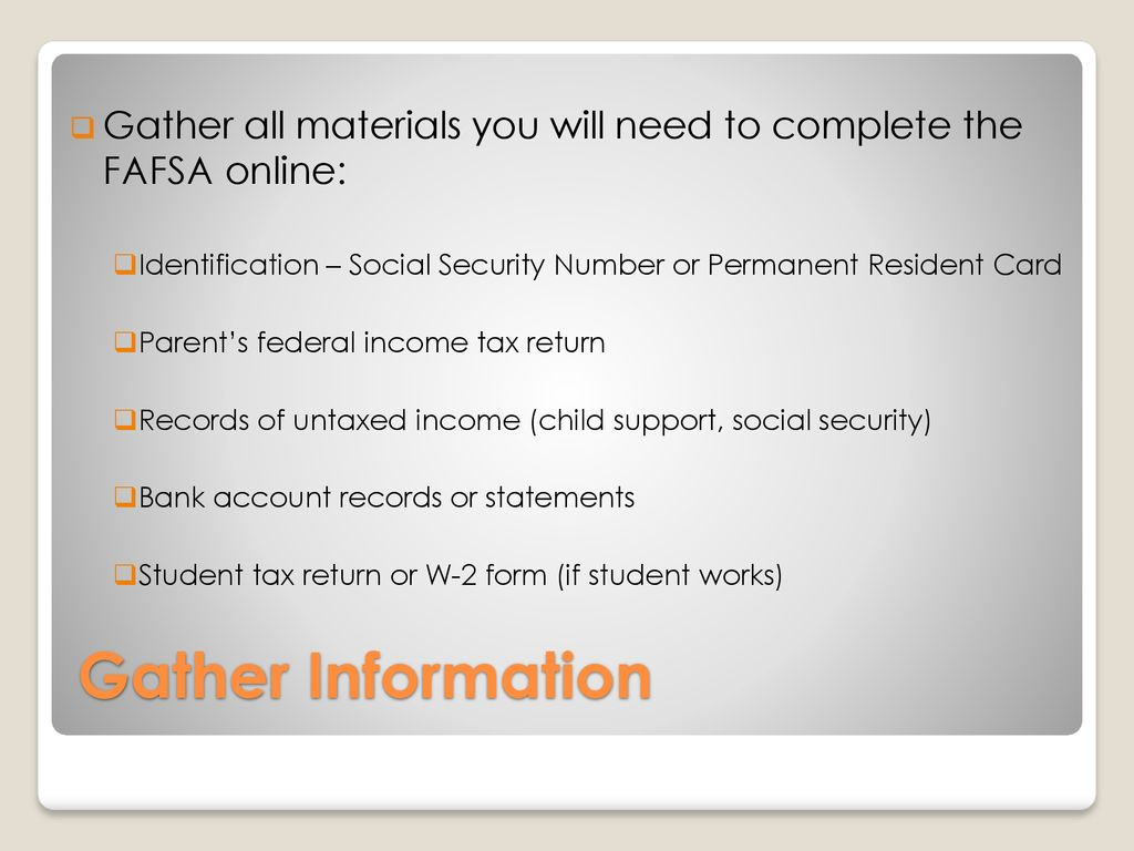 FAFSA –Free Application for Federal Student Aid - ppt download