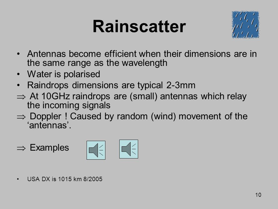 Rainscatter Antennas become efficient when their dimensions are in the same range as the wavelength.
