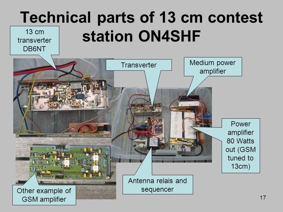 Technical parts of 13 cm contest station ON4SHF
