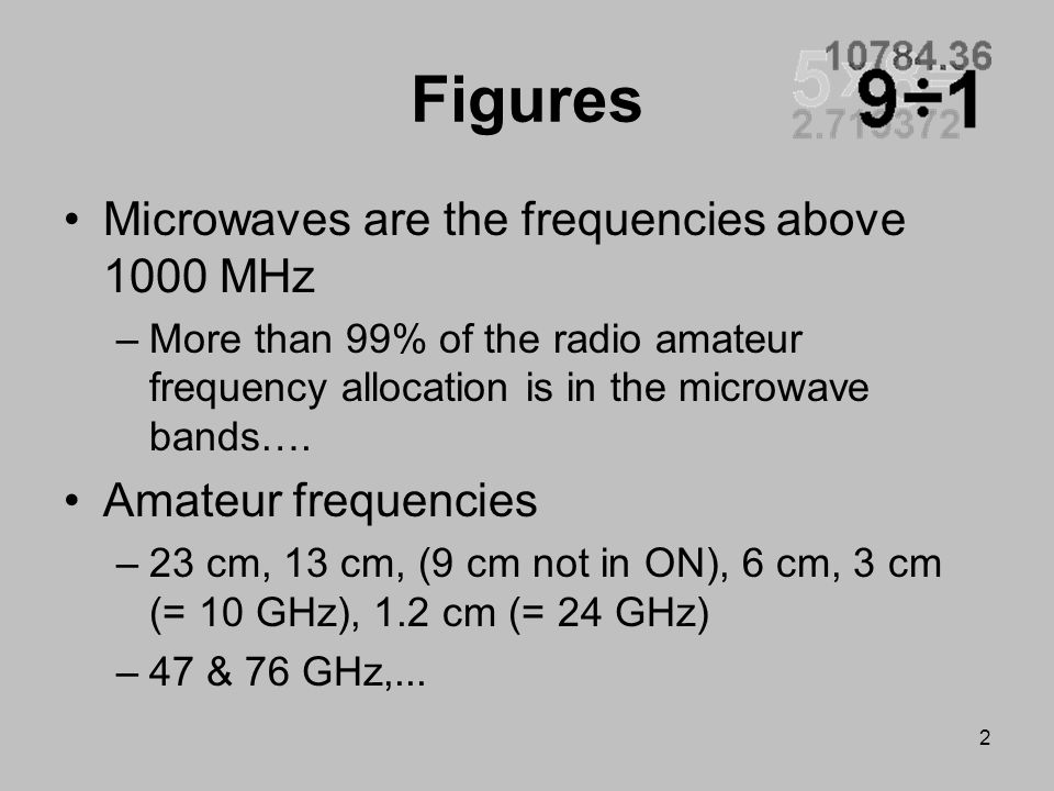 Figures Microwaves are the frequencies above 1000 MHz
