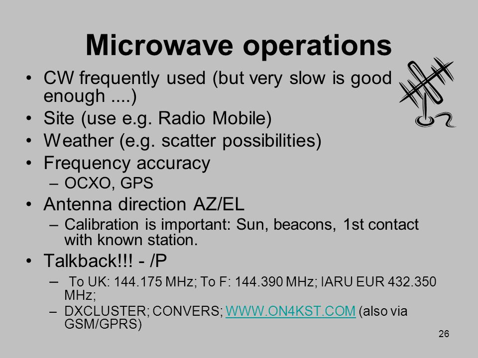Microwave operations CW frequently used (but very slow is good enough ....) Site (use e.g. Radio Mobile)