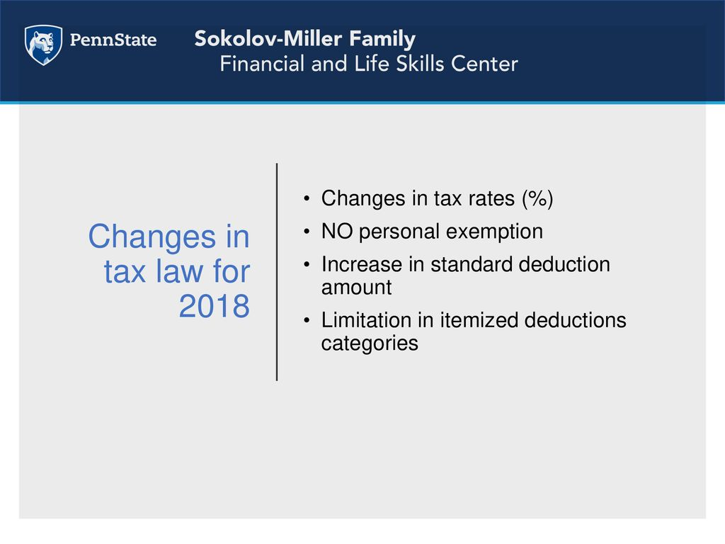2018 tax law changes personal exemptions