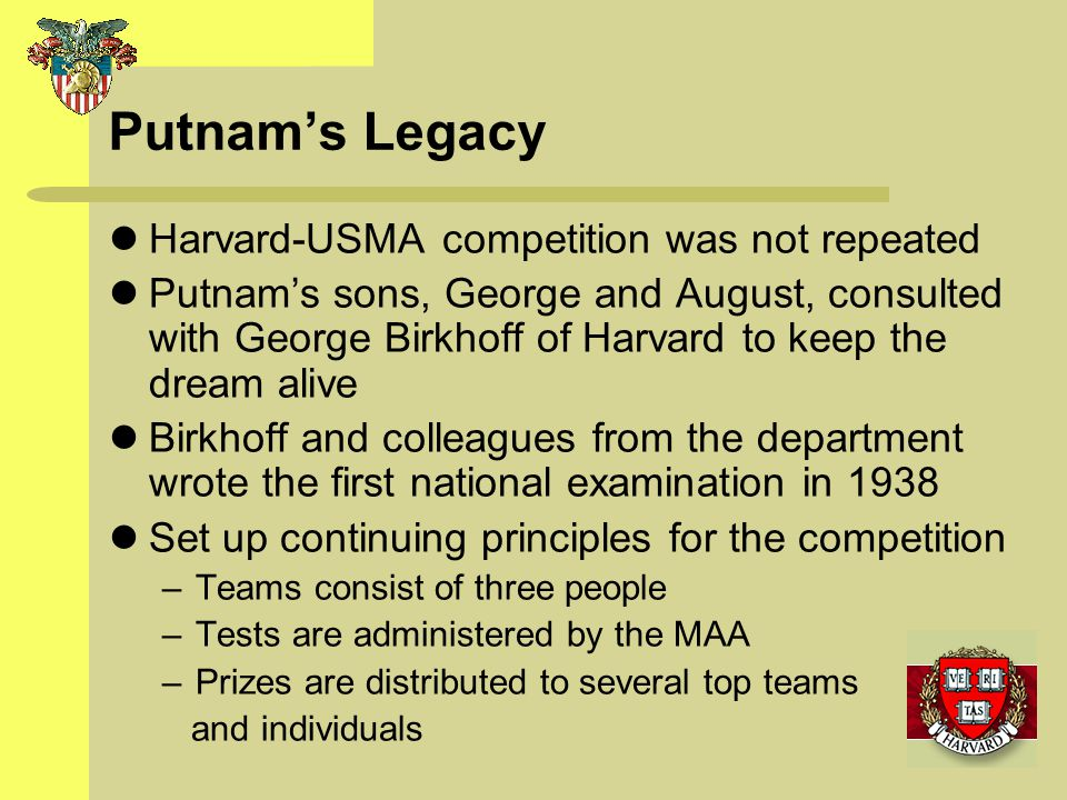 Putnam's Legacy Harvard-USMA competition was not repeated