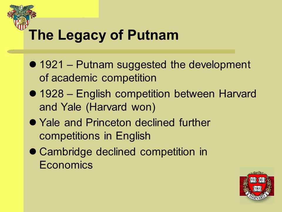 The Legacy of Putnam 1921 – Putnam suggested the development of academic competition.