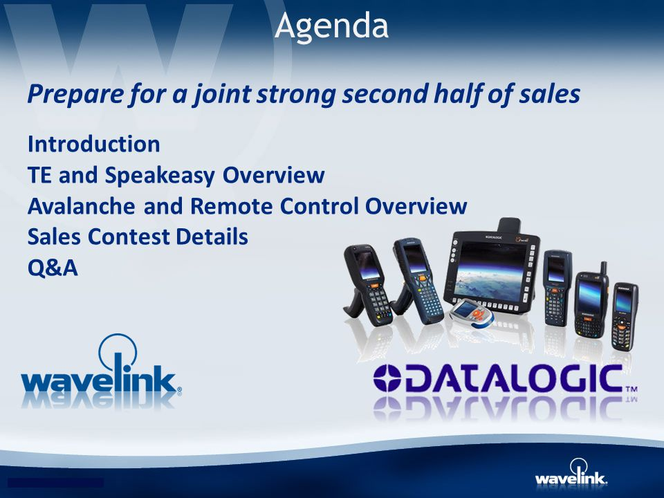 Agenda Prepare for a joint strong second half of sales Introduction