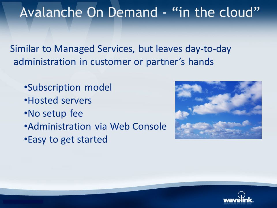 Avalanche On Demand - in the cloud