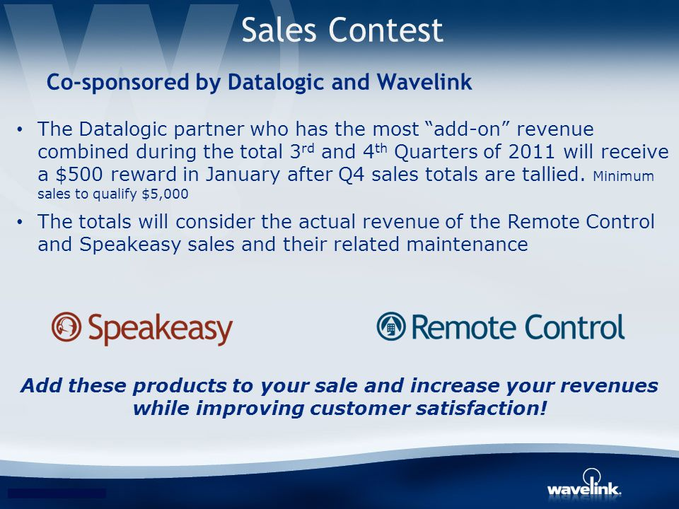 Sales Contest Co-sponsored by Datalogic and Wavelink
