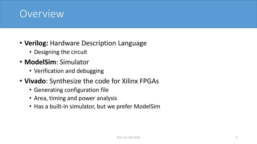 Introduction to Verilog, ModelSim, and Xilinx Vivado - ppt download