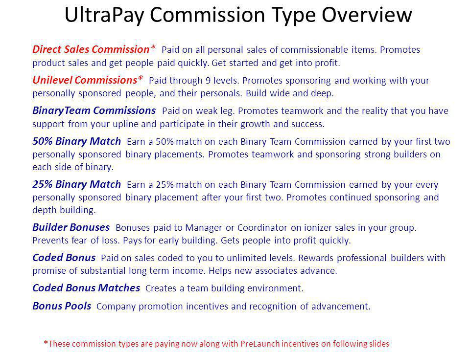 UltraPay Commission Type Overview