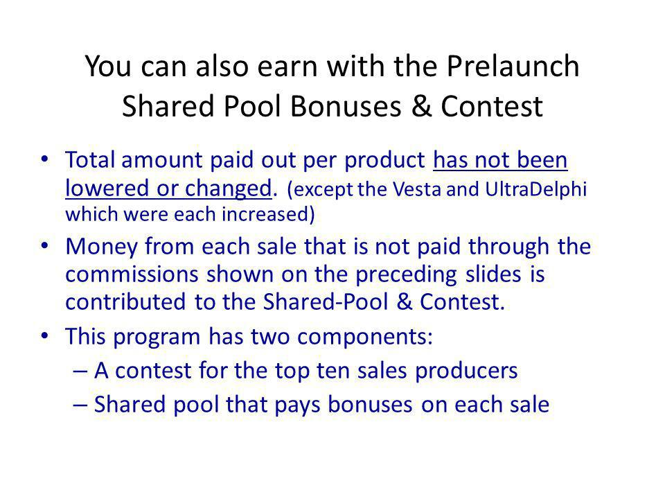 You can also earn with the Prelaunch Shared Pool Bonuses & Contest