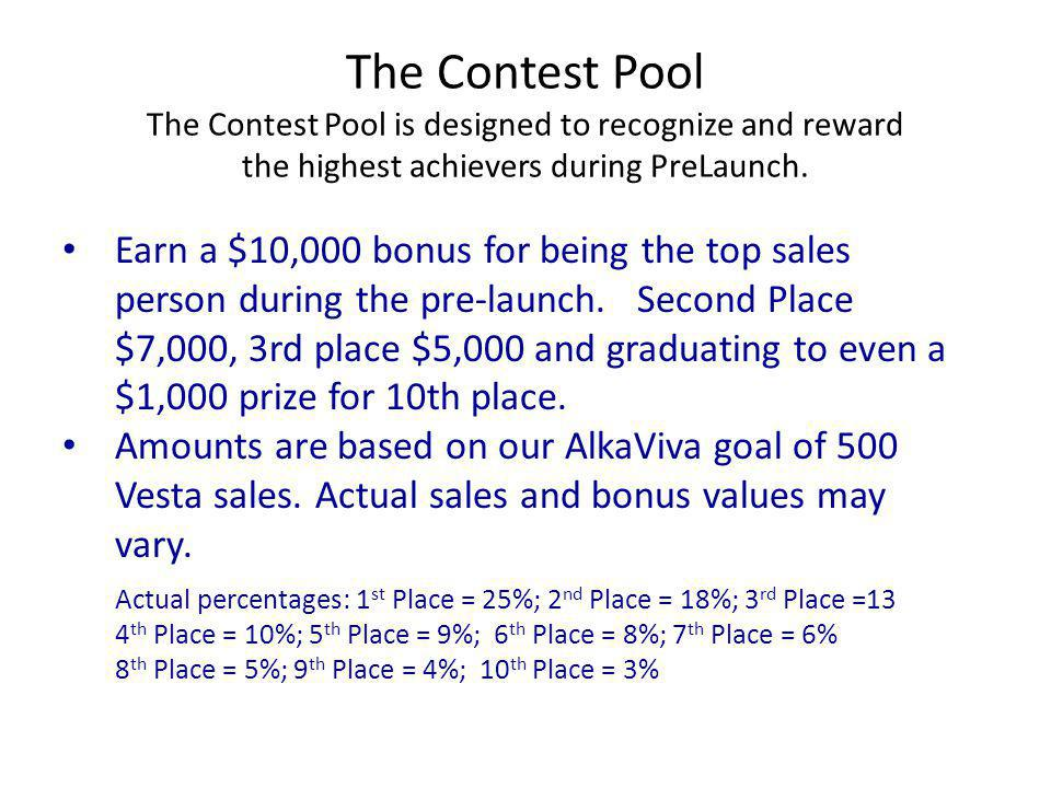 The Contest Pool The Contest Pool is designed to recognize and reward the highest achievers during PreLaunch.