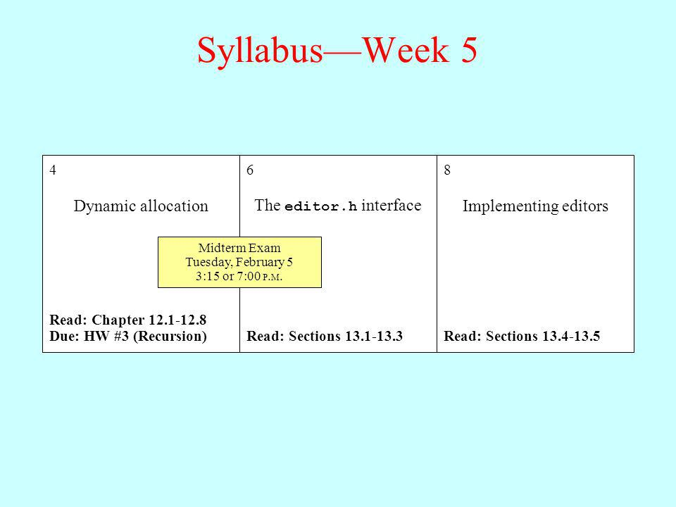Syllabus—Week 5 Dynamic allocation The editor.h interface