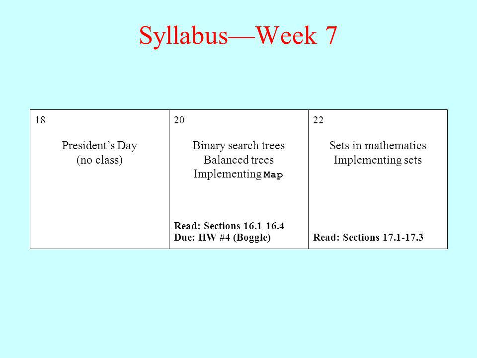 Syllabus—Week 7 President's Day (no class) Binary search trees