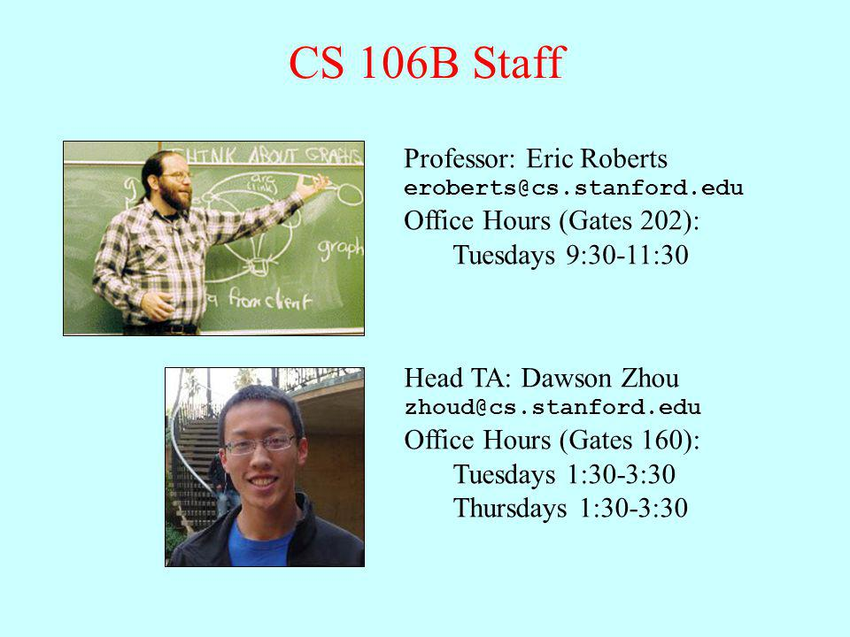 CS 106B Staff Professor: Eric Roberts Office Hours (Gates 202):