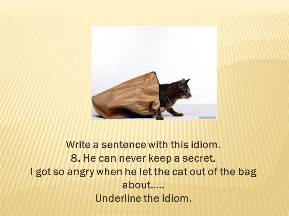 Write a sentence with this idiom. 8. He can never keep a secret.