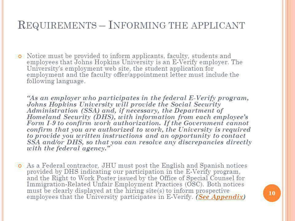 Requirements – Informing the applicant