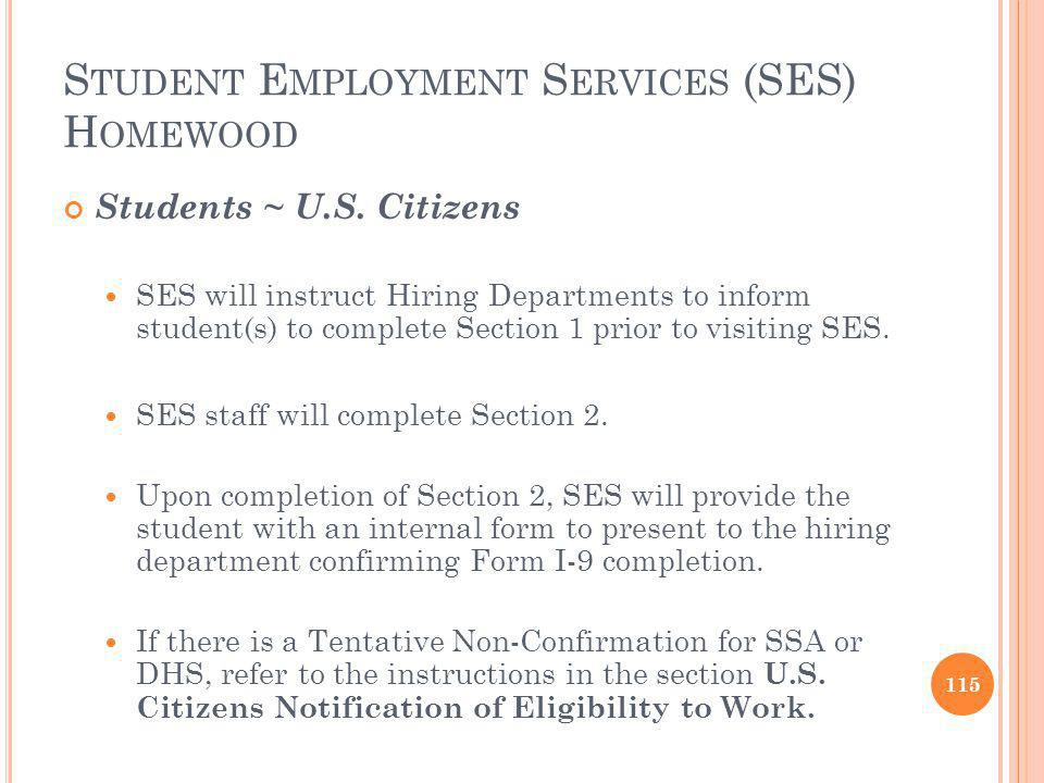 Student Employment Services (SES) Homewood