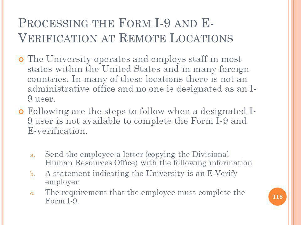 Processing the Form I-9 and E-Verification at Remote Locations