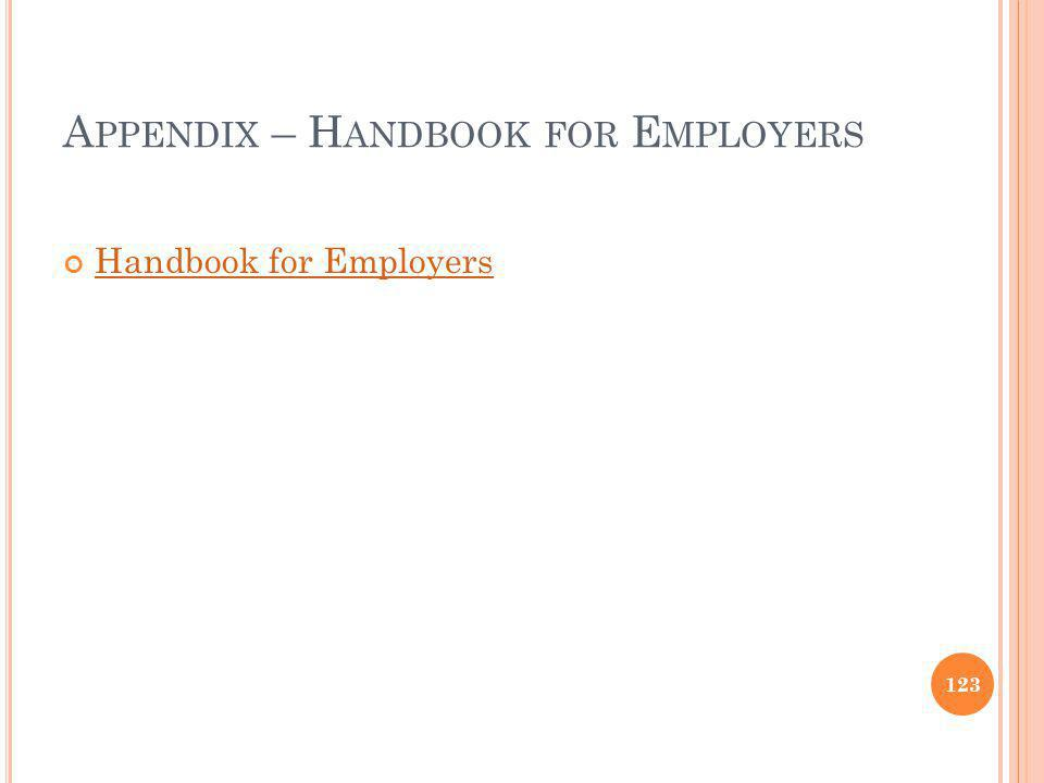 Appendix – Handbook for Employers