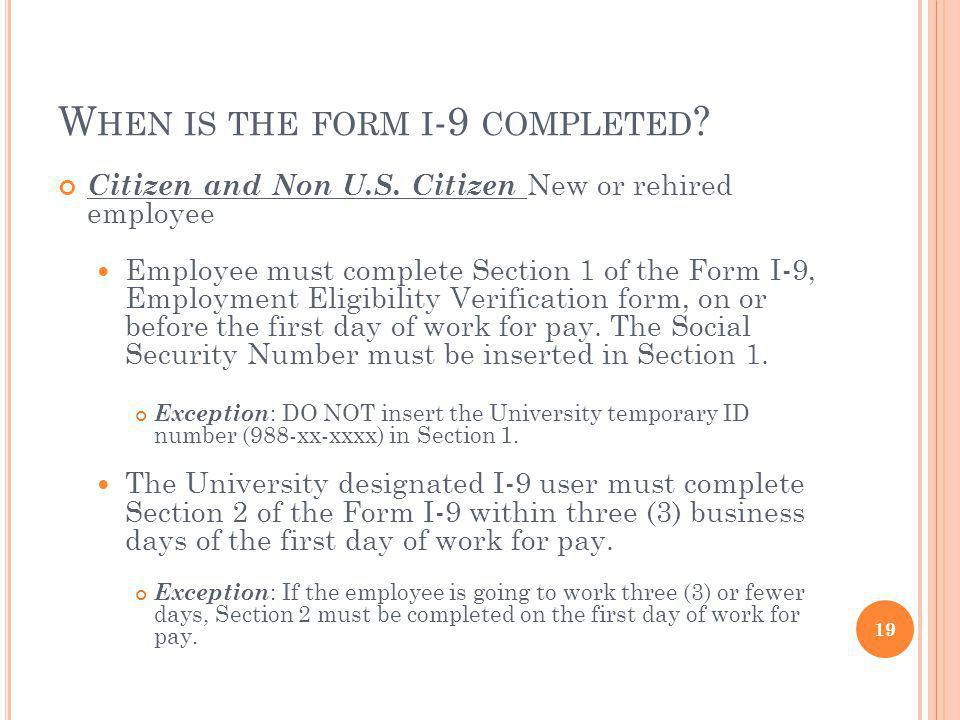 When is the form i-9 completed