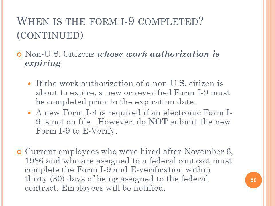 When is the form i-9 completed (continued)