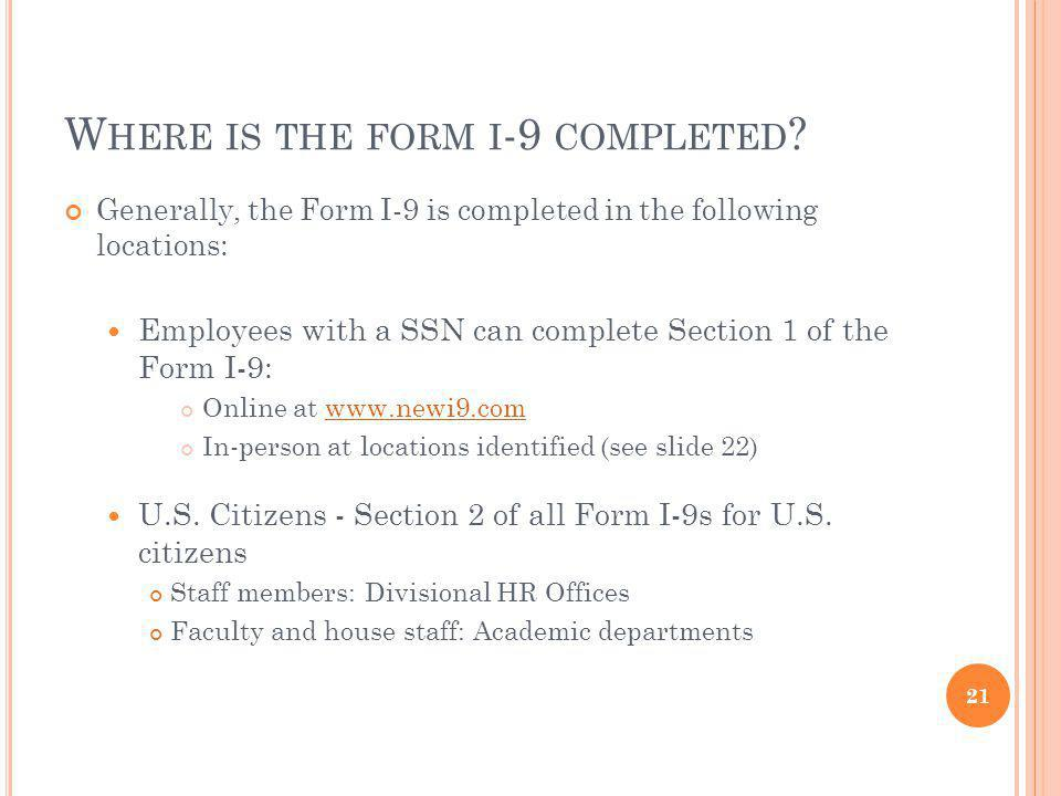 Where is the form i-9 completed