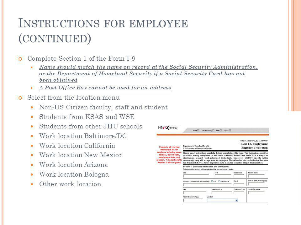 Instructions for employee (continued)