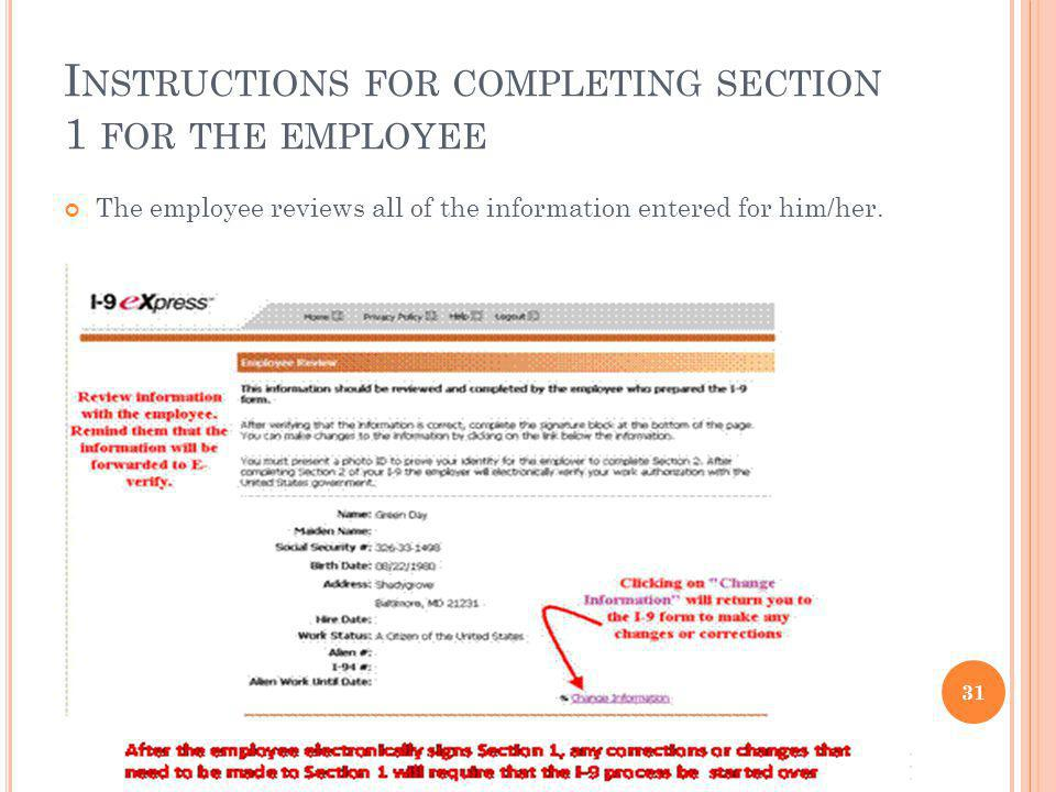 Instructions for completing section 1 for the employee