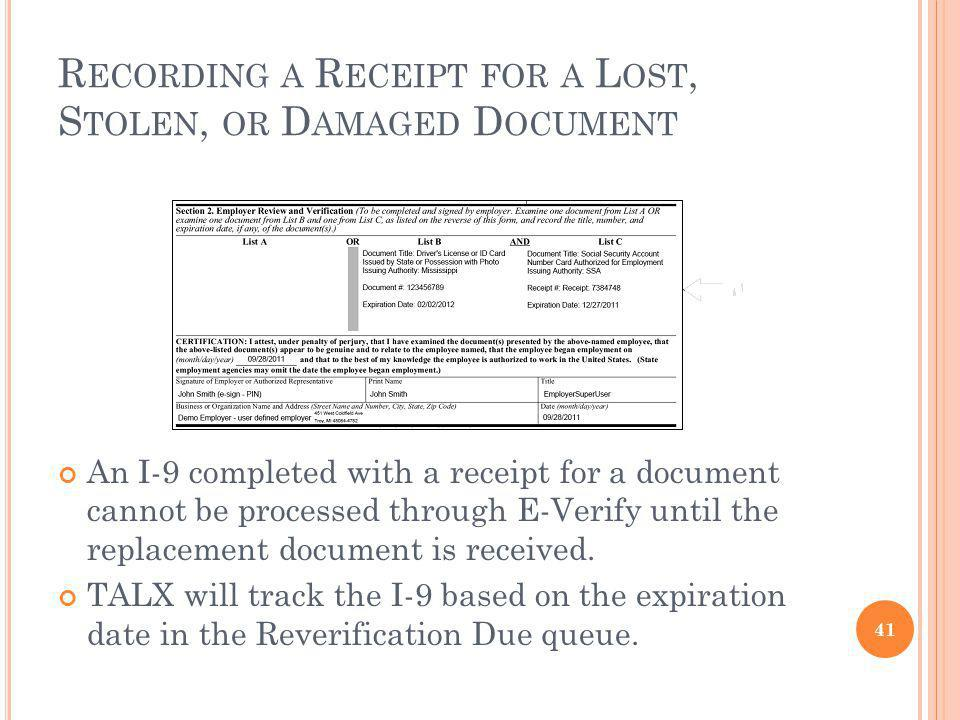 Recording a Receipt for a Lost, Stolen, or Damaged Document