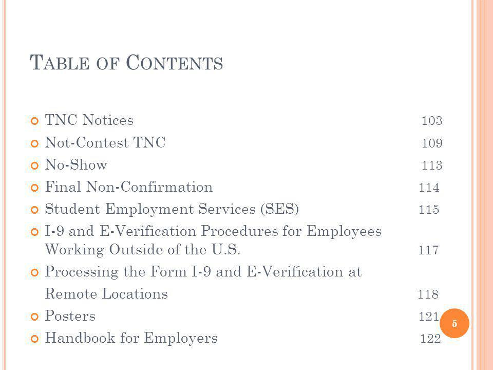 Table of Contents TNC Notices 103 Not-Contest TNC 109 No-Show 113