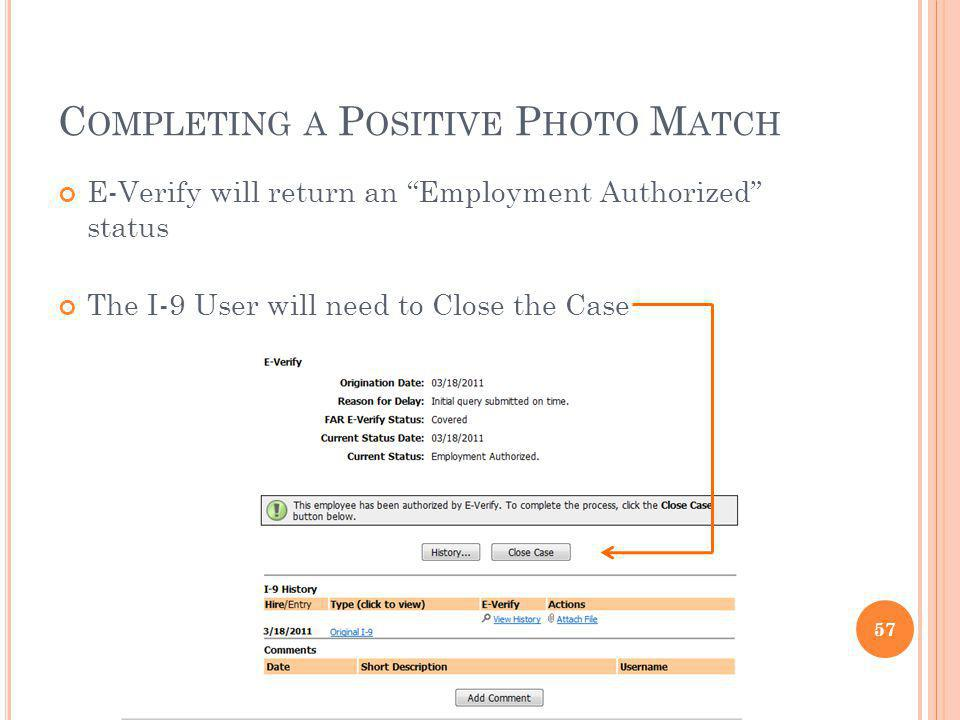 Completing a Positive Photo Match