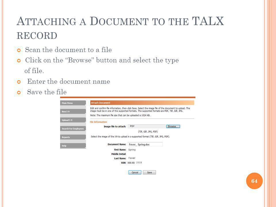 Attaching a Document to the TALX record