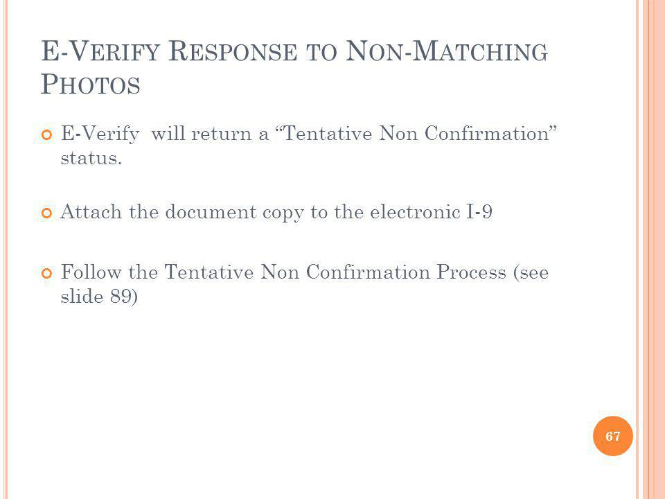 E-Verify Response to Non-Matching Photos