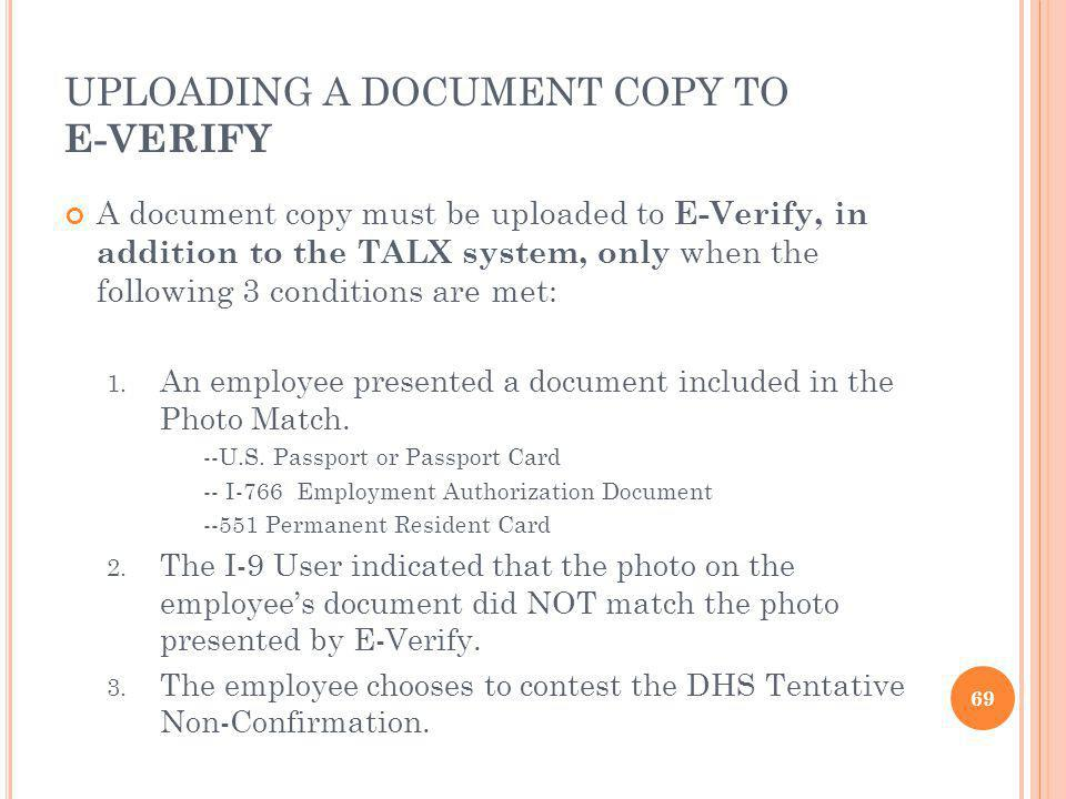 UPLOADING A DOCUMENT COPY TO E-VERIFY