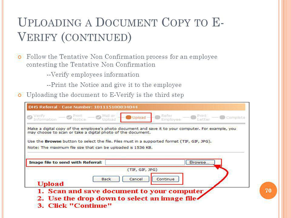 Uploading a Document Copy to E-Verify (continued)