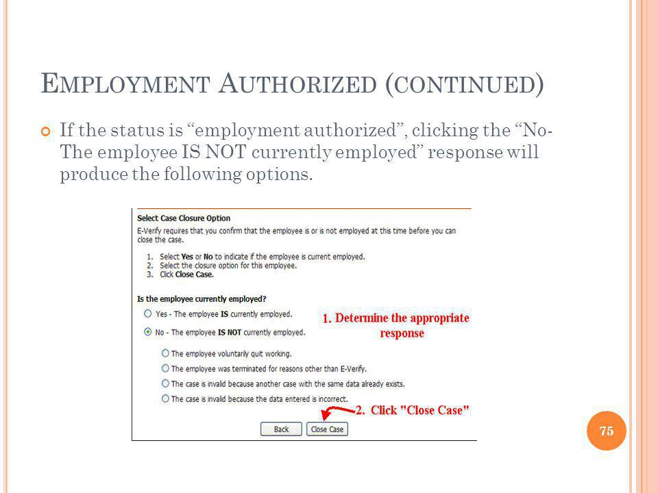 Employment Authorized (continued)