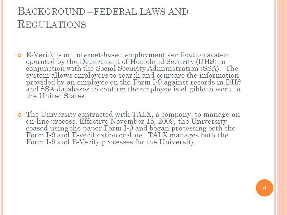 Background –federal laws and Regulations
