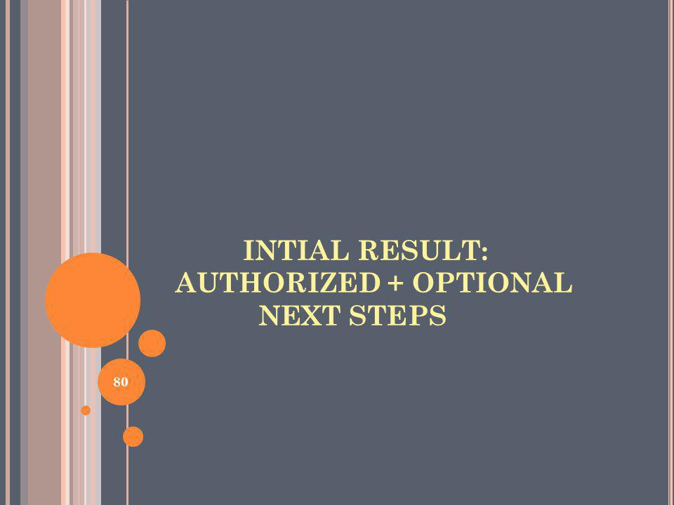 INTIAL RESULT: AUTHORIZED + OPTIONAL NEXT STEPS