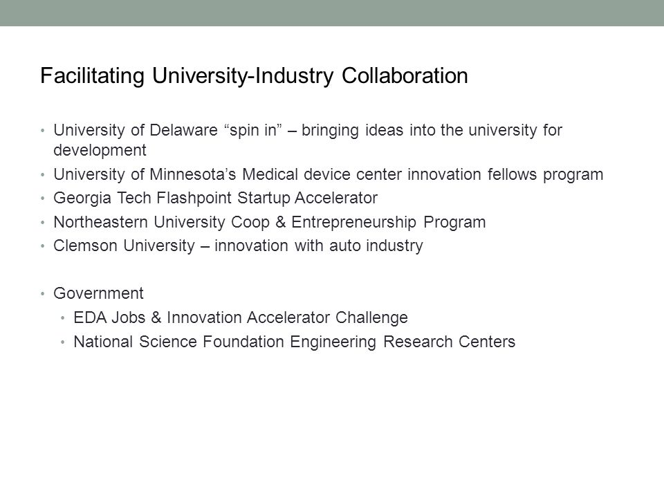 Facilitating University-Industry Collaboration