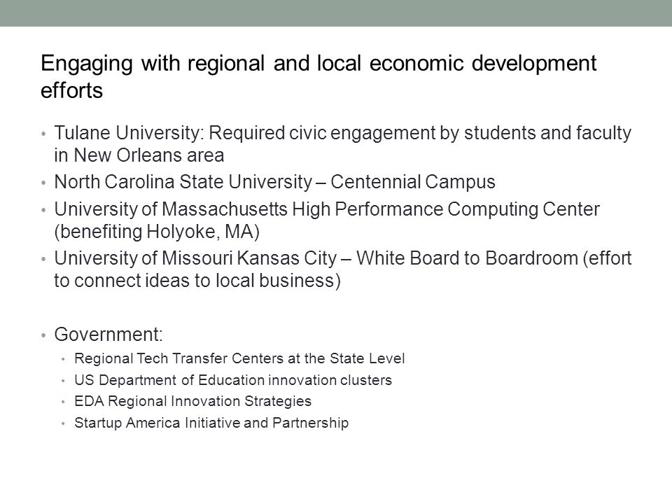 Engaging with regional and local economic development efforts