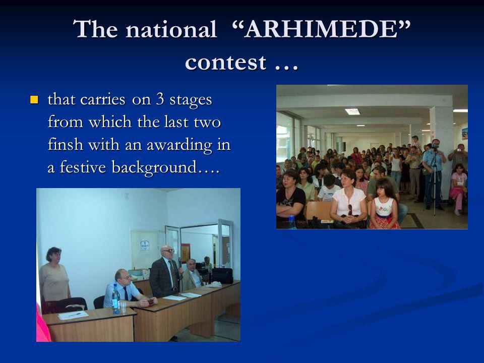 The national ARHIMEDE contest …