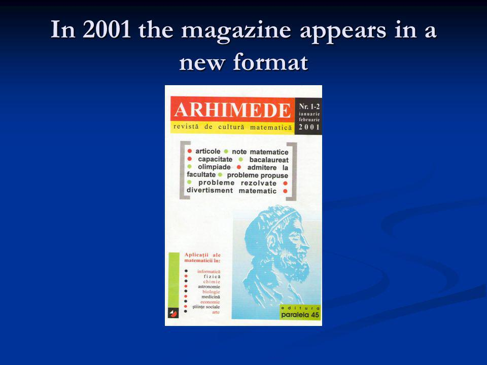 In 2001 the magazine appears in a new format