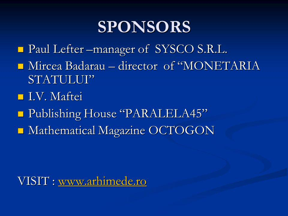 SPONSORS Paul Lefter –manager of SYSCO S.R.L.