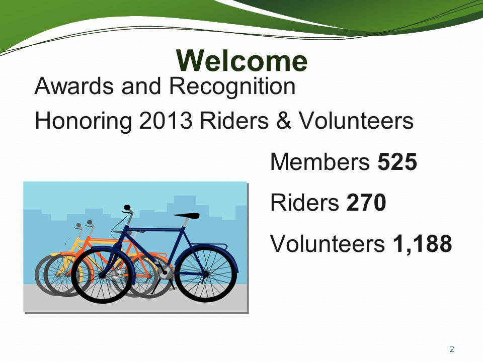 Welcome Awards and Recognition Honoring 2013 Riders & Volunteers