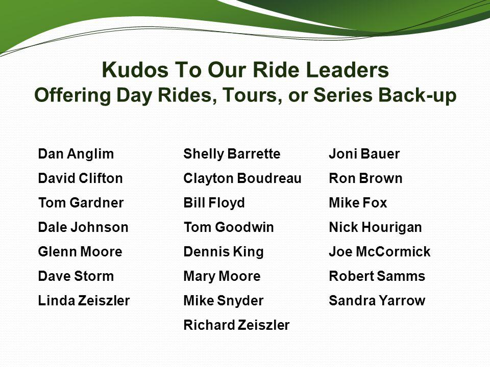 Kudos To Our Ride Leaders Offering Day Rides, Tours, or Series Back-up