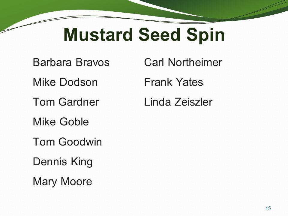 Mustard Seed Spin Barbara Bravos Mike Dodson Tom Gardner Mike Goble Tom Goodwin Dennis King Mary Moore Carl Northeimer Frank Yates Linda Zeiszler