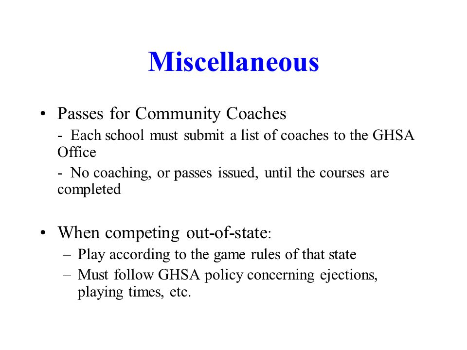 Miscellaneous Passes for Community Coaches