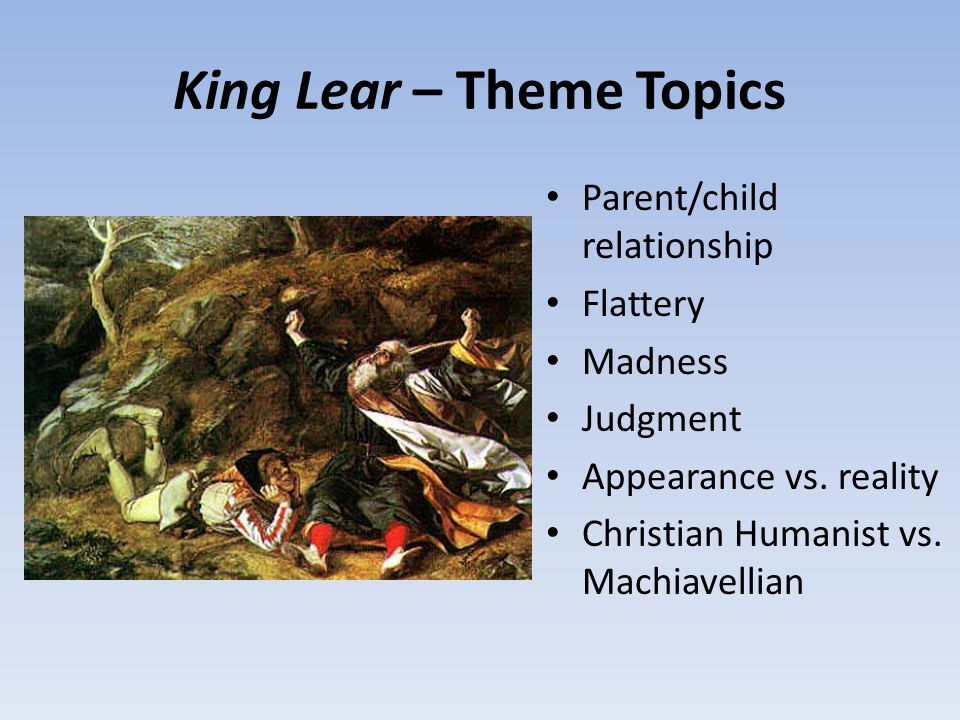 About English Language Essay King Lear  Theme Topics Examples Of Essay Proposals also Thesis Examples In Essays King Lear And A Thousand Acres  Ppt Download Essay On Healthy Living